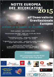 Flyer for the Notte dei Ricercatori 2015 at EGO.