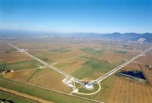 Aerial view of the Virgo interferometer