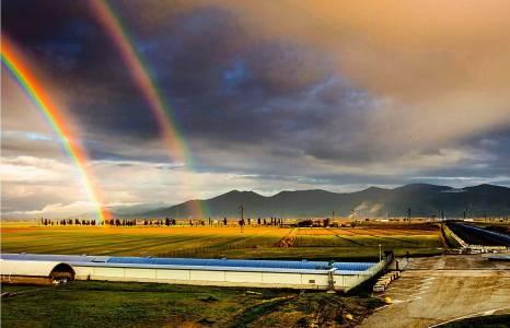 Rainbow over the Virgo site.