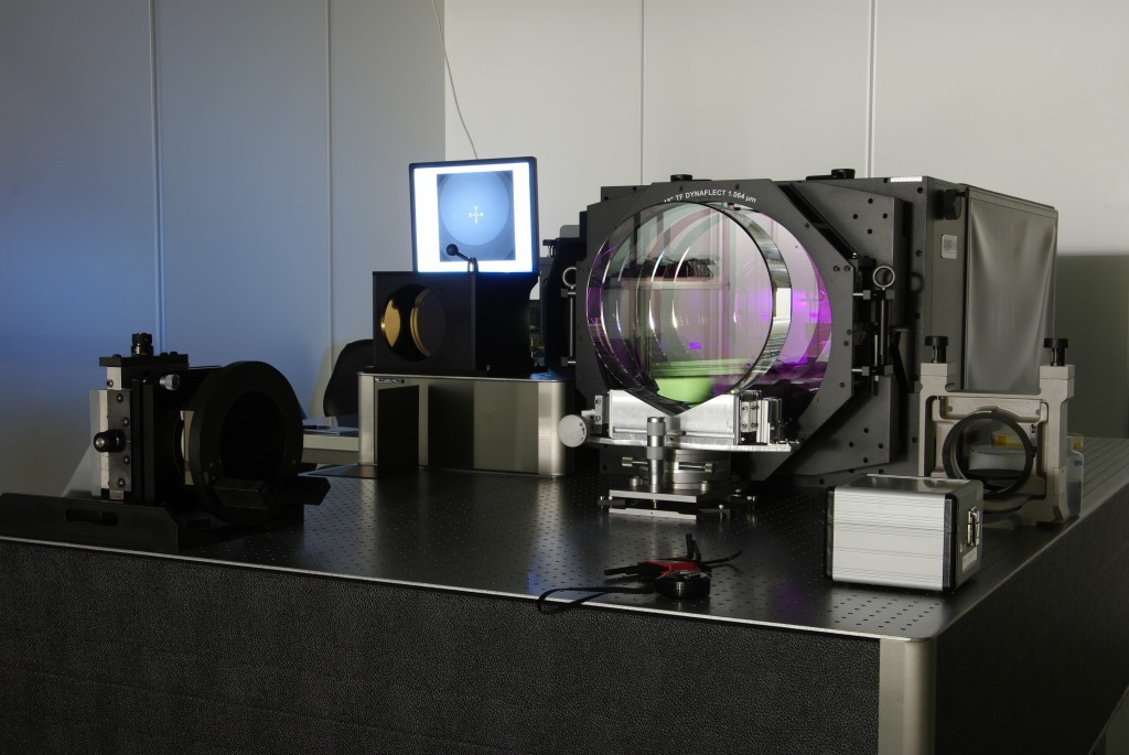 One of the new Advanced Virgo mirrors on the test bench, at LMA, Lyon(Credits: LMA/EGO & The Virgo Collaboration).
